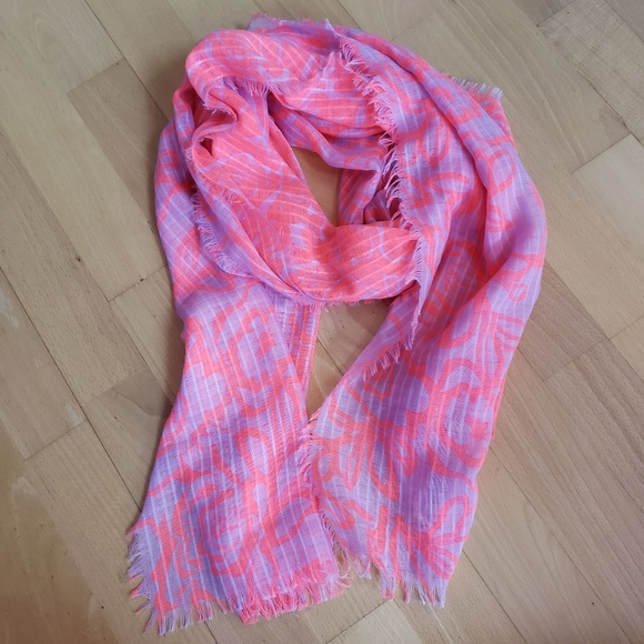 9c86c679a3948 Accessories | Bright Pink And Orange Floral Scarf | Poshmark